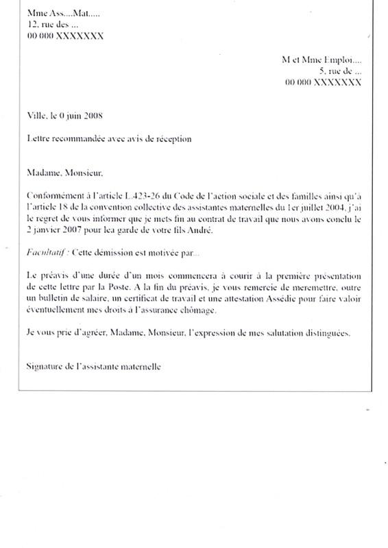 lettre de rupture de contrat assistance maternelle exemple