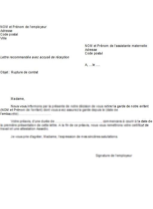 lettre de rupture de contrat d'assistante maternelle