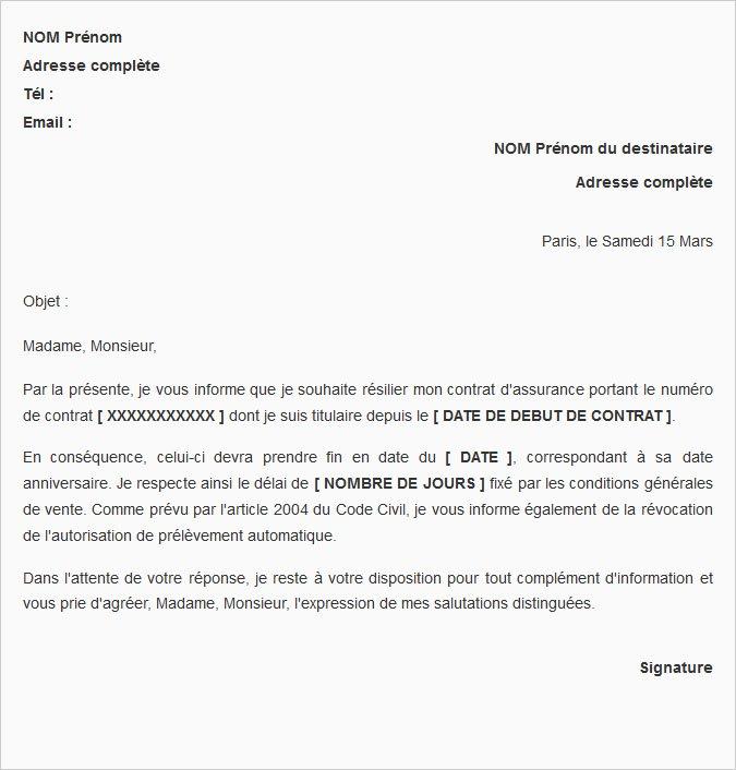 lettre de rupture de contrat d'assurance
