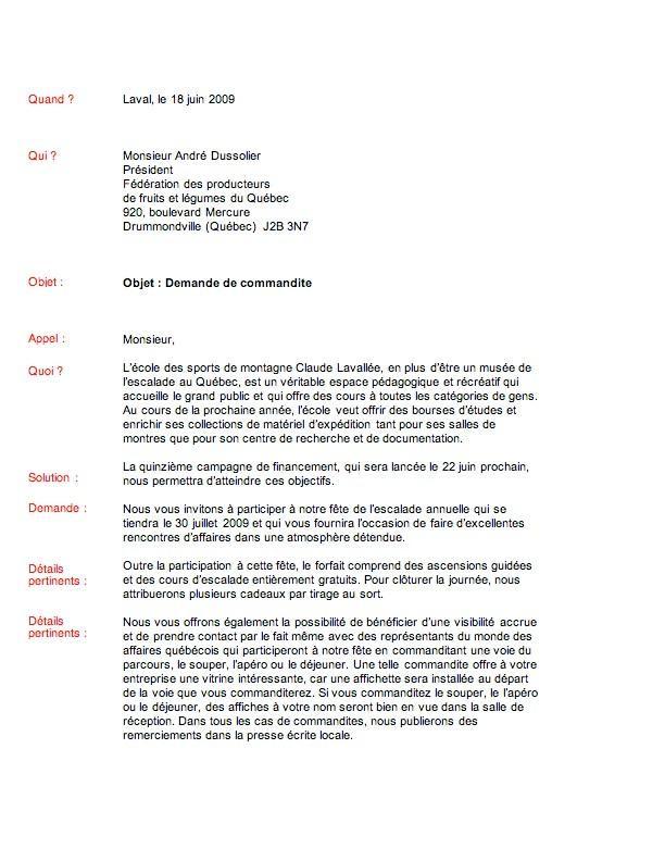 lettre de sollicitation modele
