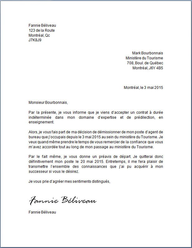 lettre de transmission de courrier
