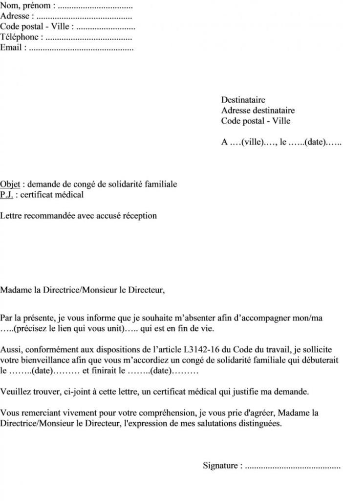 lettre demande conge parental temps partiel - Modele de lettre type