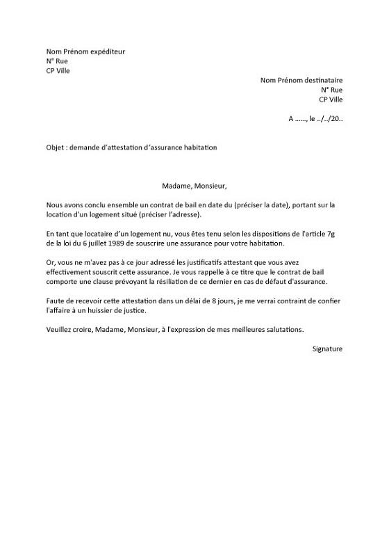lettre demande d'attestation