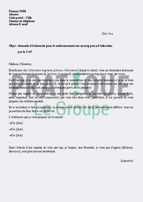 lettre demande d echeancier