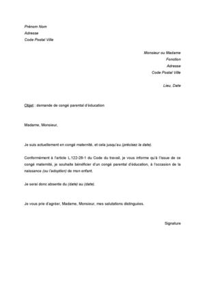lettre demande de conge parental - Modele de lettre type