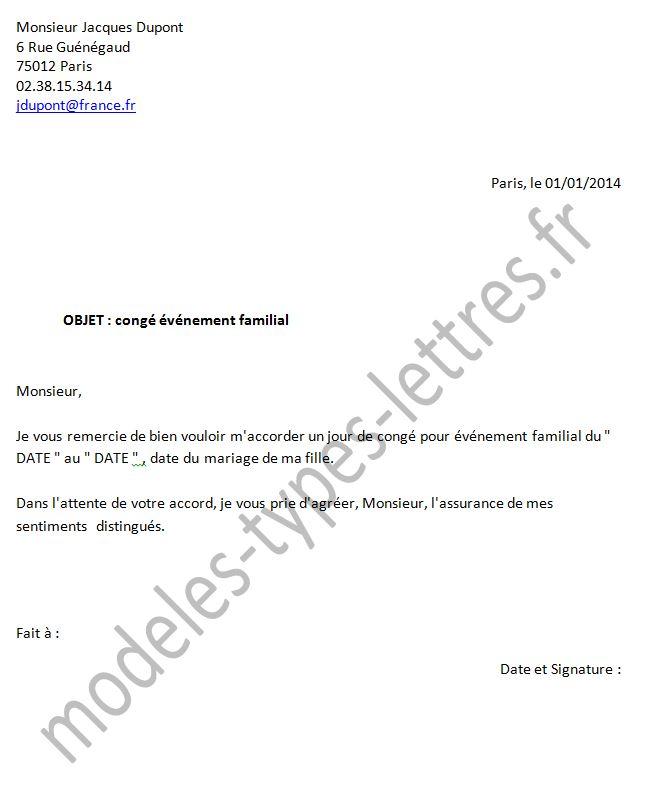 lettre demande de conge paternite 3 jours