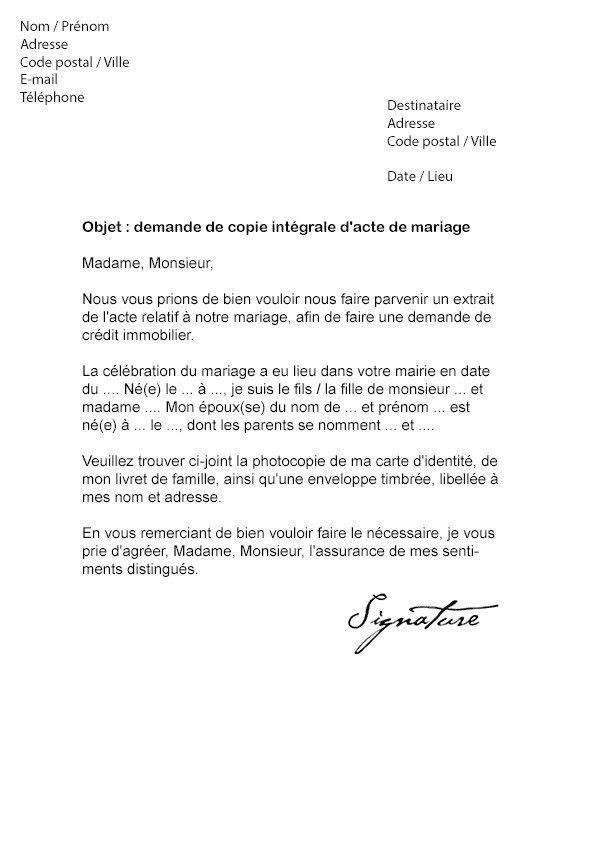 lettre demande de mariage