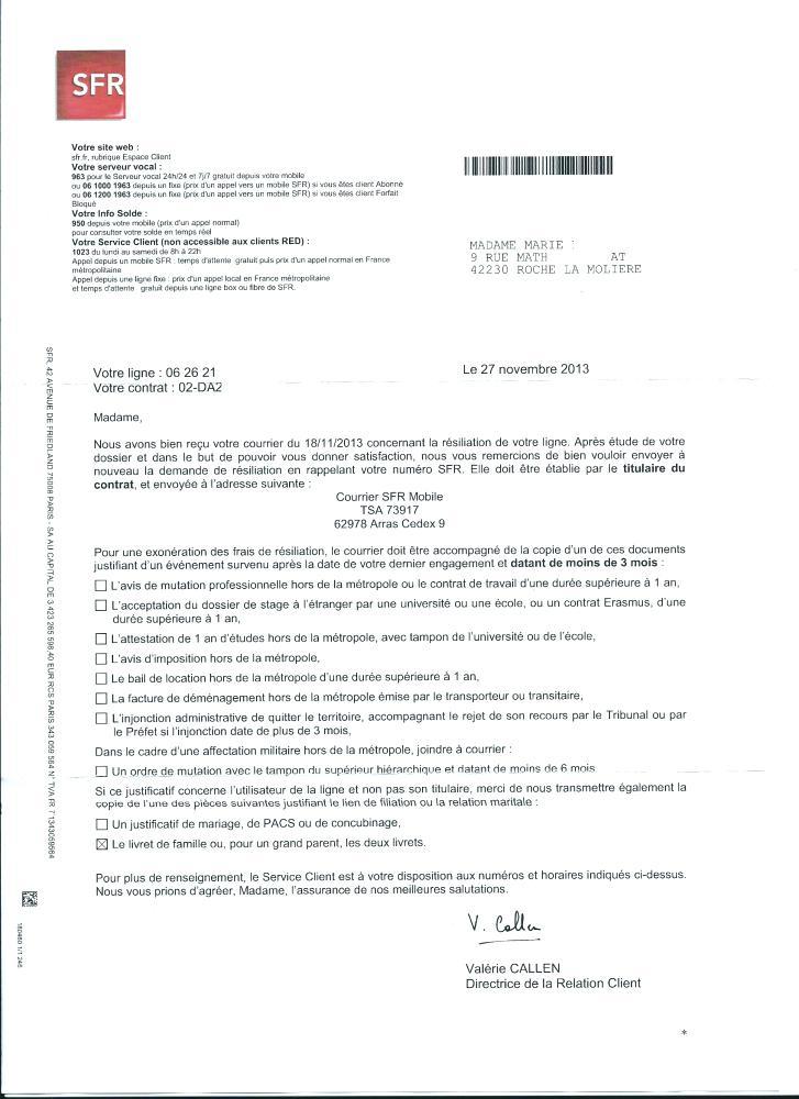lettre demande de resiliation canal+