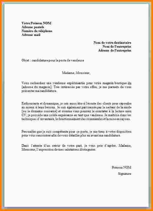 lettre demande emploi