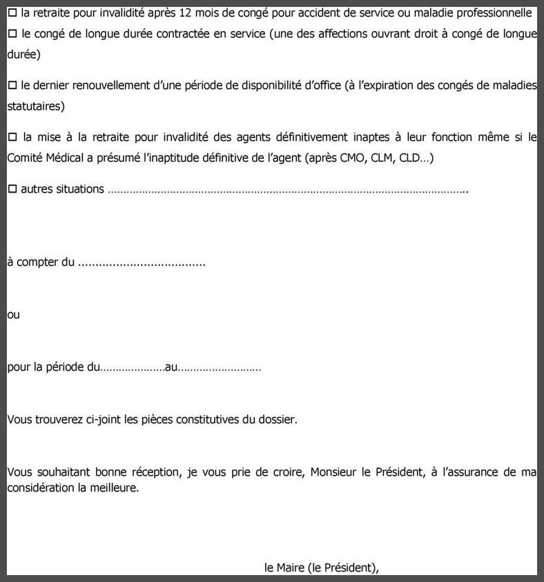 lettre demande retraite fonctionnaire