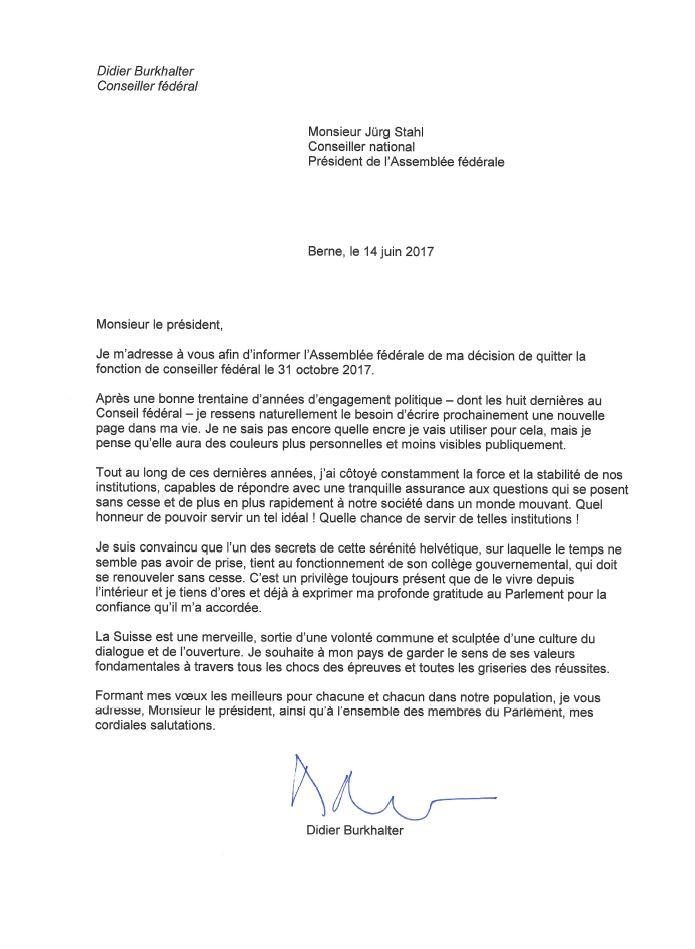 lettre demission exemple suisse