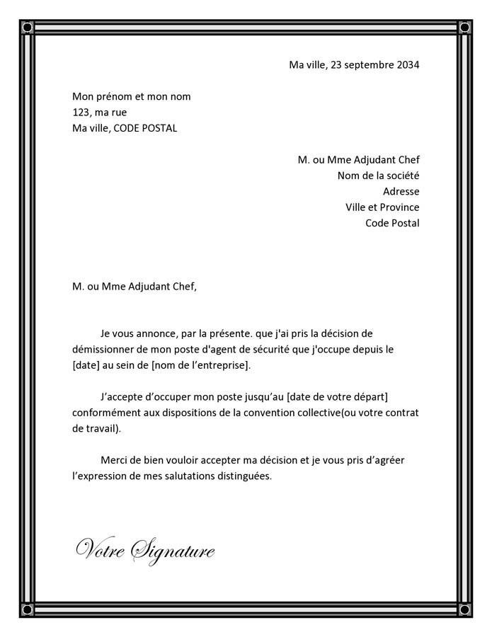 lettre demission main propre
