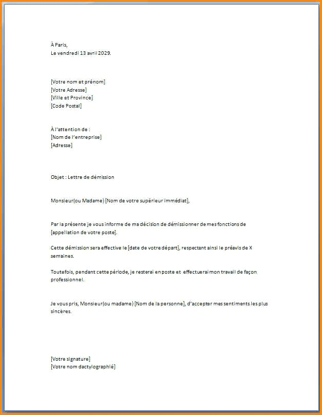 lettre demission pour suivre conjoint - Modele de lettre type