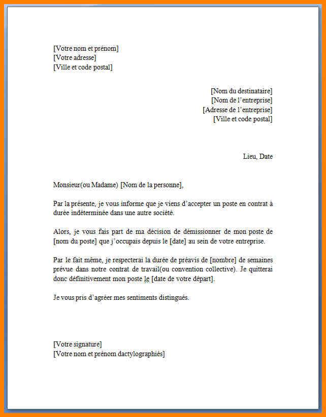 lettre demission sans preavis cdi