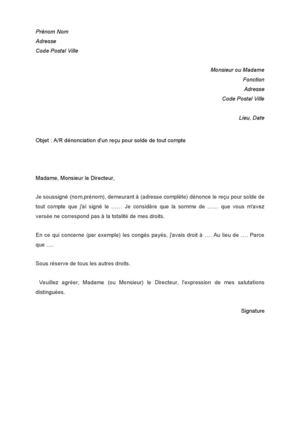 lettre denonciation solde de tout compte