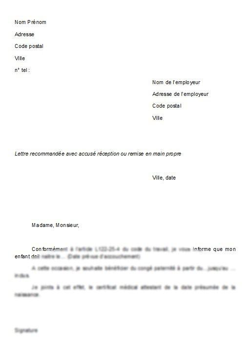lettre employeur conge parental 3 ans