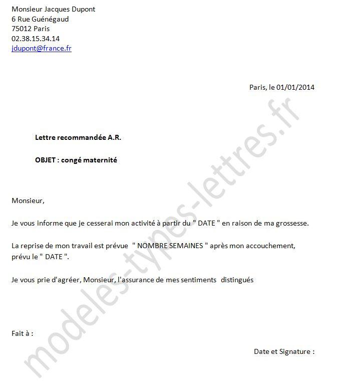 lettre employeur conge parental