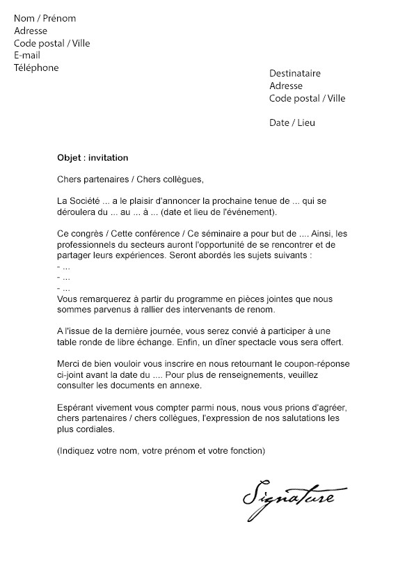 lettre excuse absence invitation