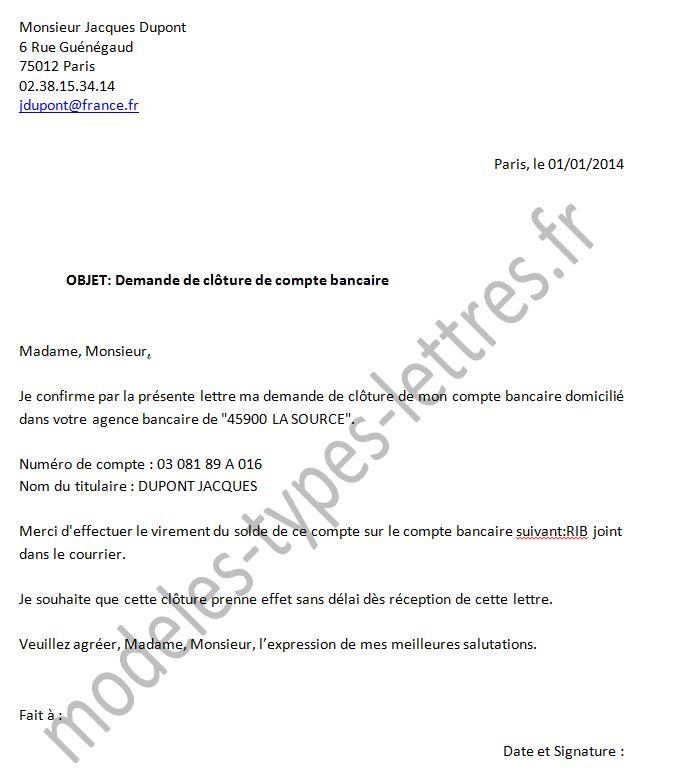 lettre fermeture compte bancaire