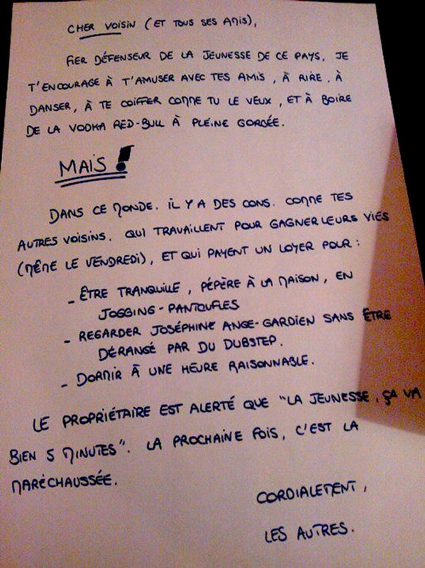 lettre fete voisin