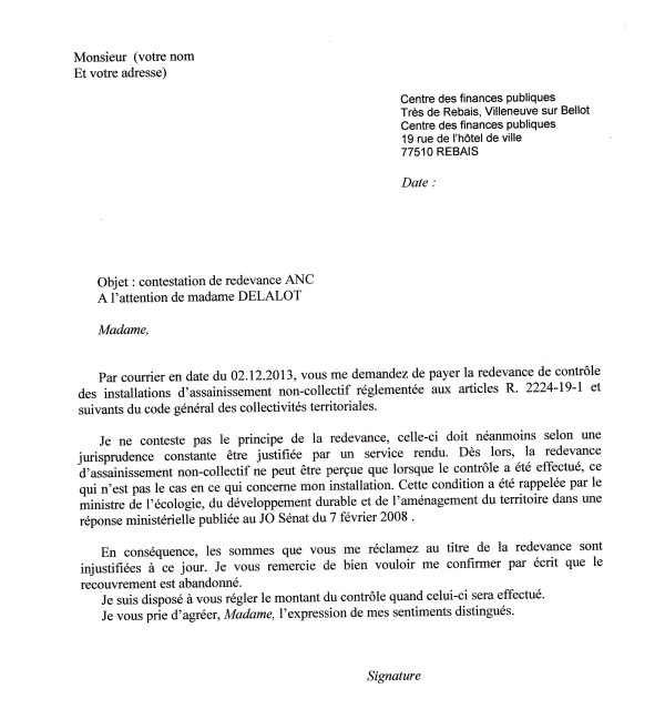 lettre gratuite de contestation