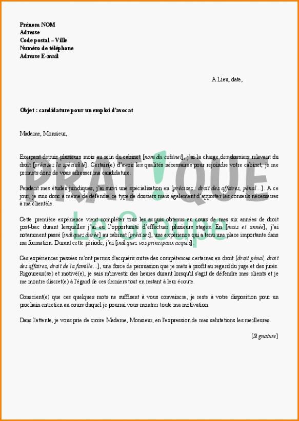 lettre motivation avocat gratuit - Modele de lettre type