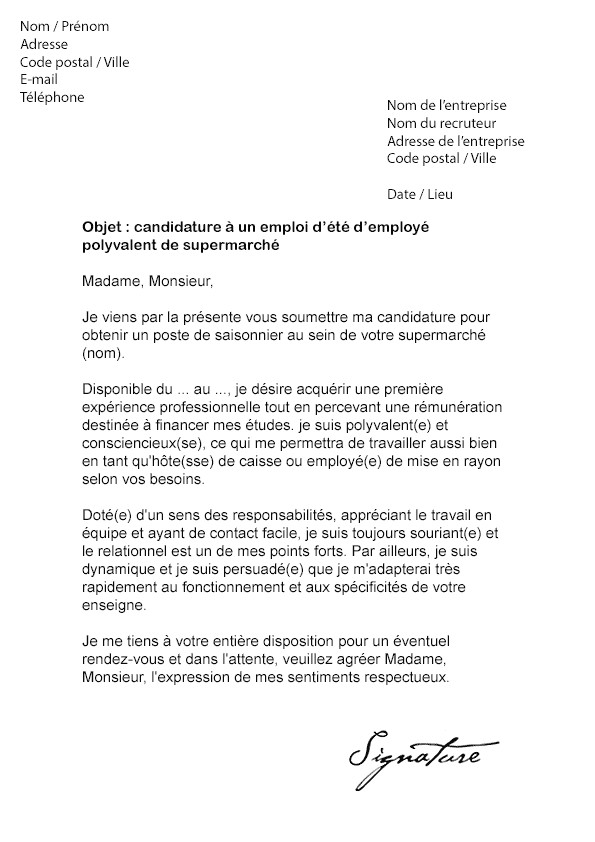 lettre motivation banque job ete