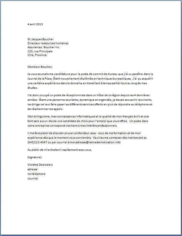 lettre motivation candidature spontanee commercial