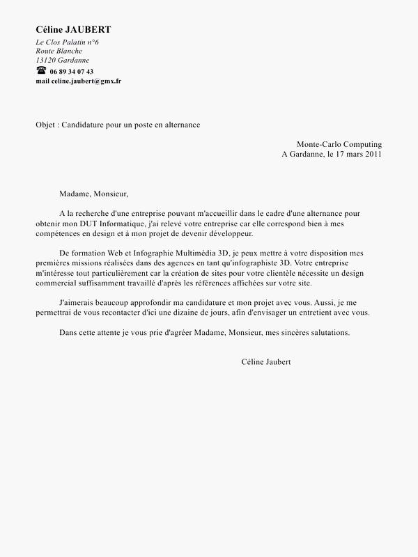 lettre motivation dut informatique