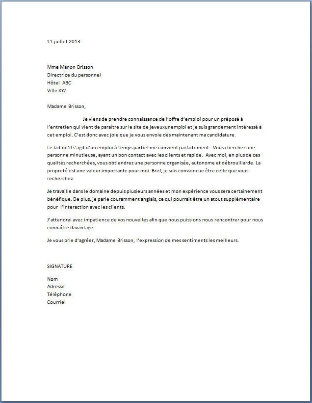 lettre motivation femme de menage gratuite