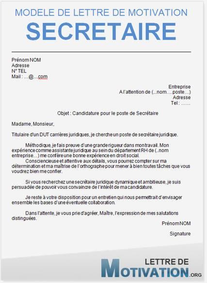 lettre motivation secretaire administrative - Modele de lettre type