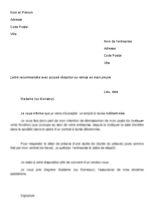 lettre non renouvellement contrat travail
