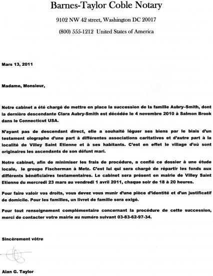 lettre notaire