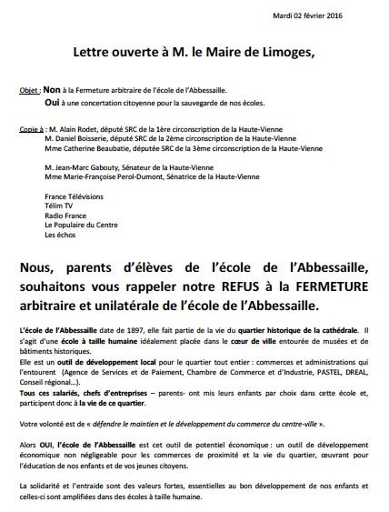 lettre petition pour chauffage