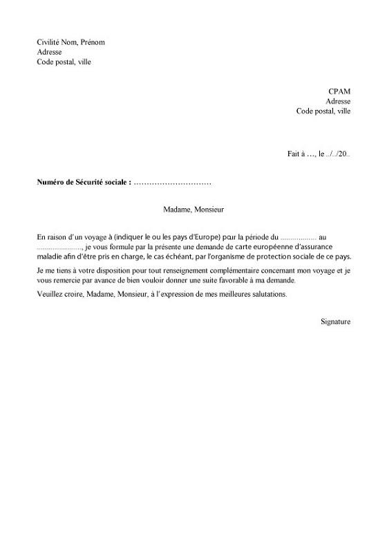 lettre pour assurance maladie