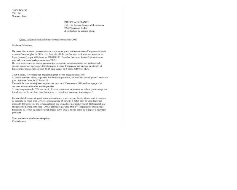 lettre pour augmentation de tarif