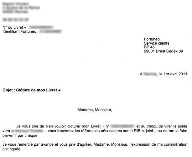 lettre pour cloture de compte