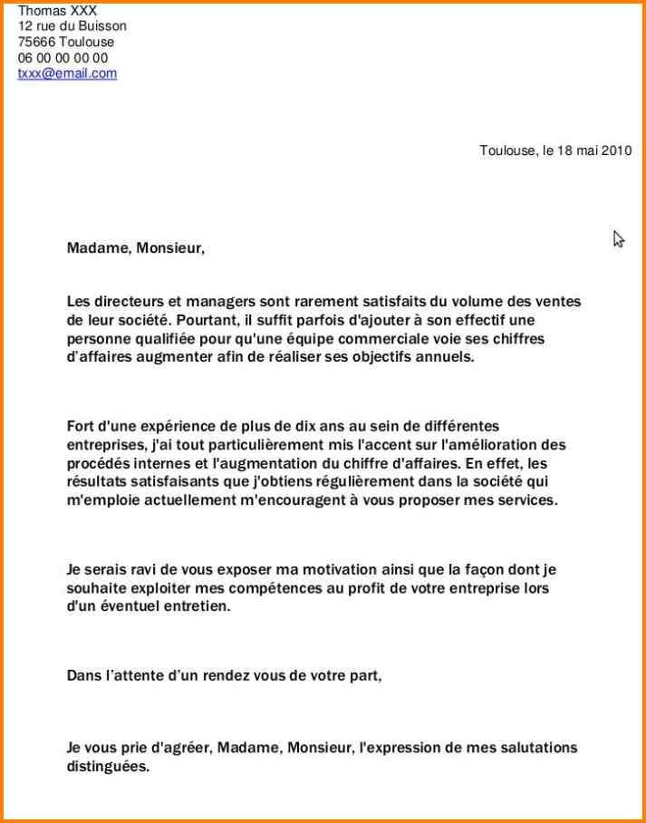 lettre pour demande d'emploi