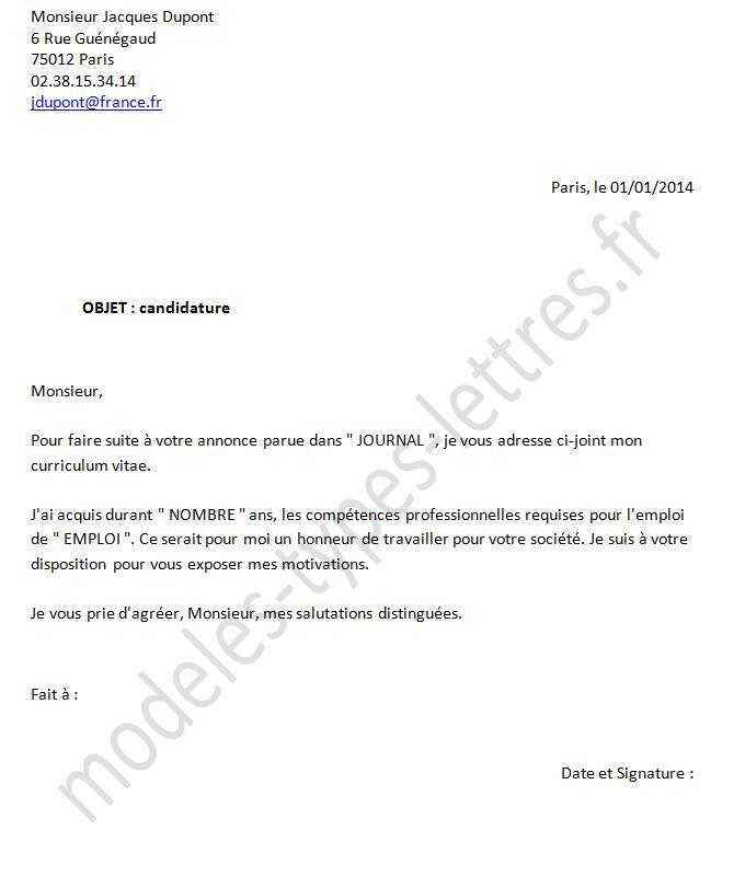 lettre pour embauche