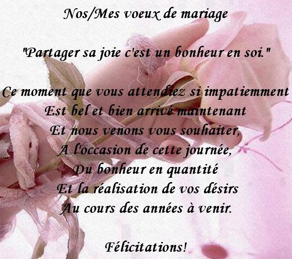 lettre pour feliciter les maries