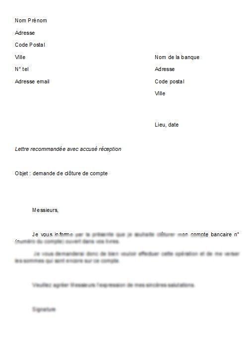 lettre pour fermeture de compte en banque