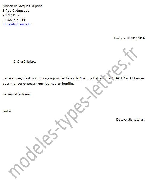 lettre pour fete