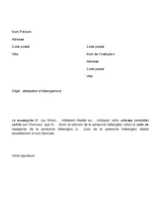 lettre pour hebergement
