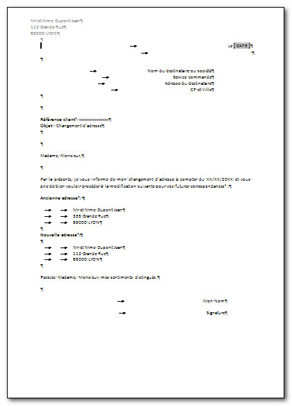 lettre pour informer d'un changement d'adresse - Modele de lettre type