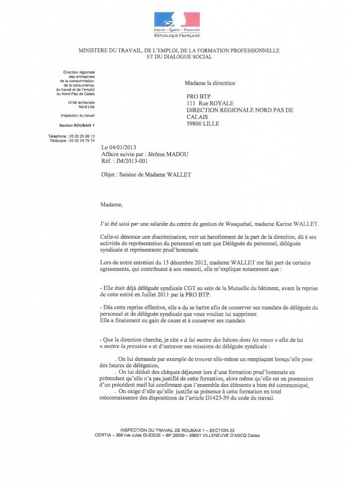 lettre pour inspecteur du travail
