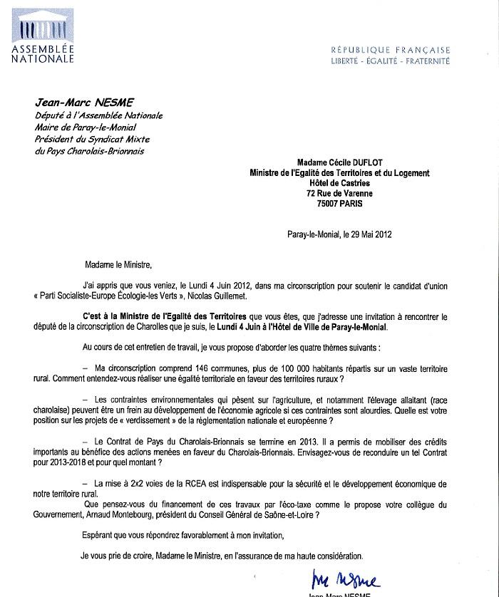 Lettre Pour Invitation
