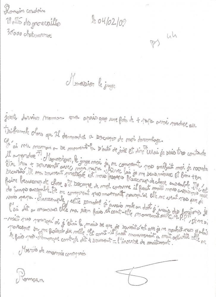lettre pour le juge modele