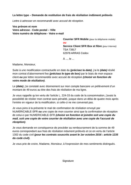 lettre pour litige