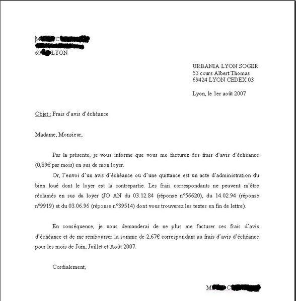 lettre pour louer un appartement