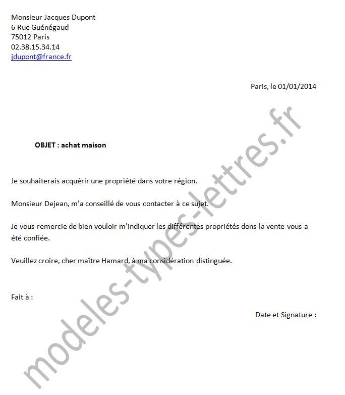 lettre pour notaire